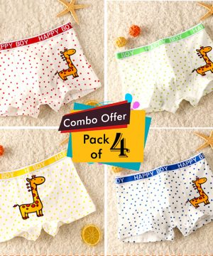 Baby Giraffe Print Baby Boy 100% Cotton Underpants Underwear for Kids - Pack of 04