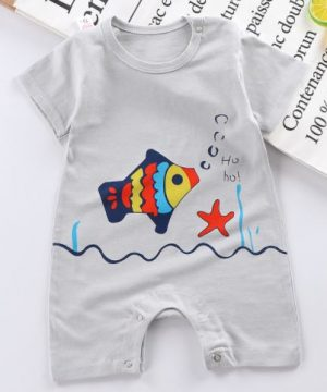 Floating fish Print Newborn Half Sleeve Romper for Baby- Grey
