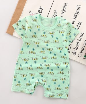 Spring Newborn Baby Romper With Flower Printed